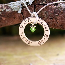 Angel Baby Affirmation Necklace - Miscarriage Jewelry - Script Font