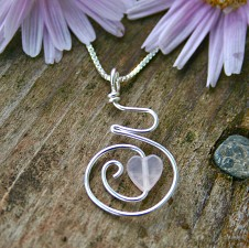 Baby Love Pregnancy Pendant Necklace Rose Quartz and Sterling Silver