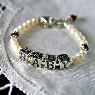 Birthstone and Freshwater Pearl Baby Name Bracelet - Baby in Sterling Silver Beads