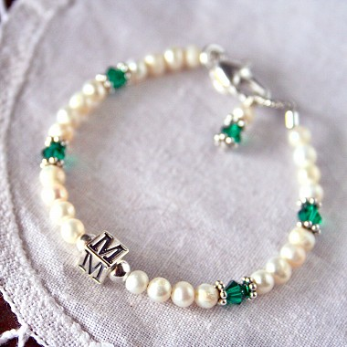 Birthstone and Freshwater Pearl Initial Baby Bracelet with Emerald Birthstone