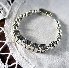 Boy - Girl (unisex) Sterling Silver Baby Name Bracelet