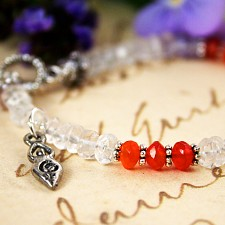 Carnelian and Quartz Fertility Bracelet with Fertility Goddess Charm