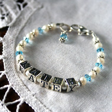Crystal and Freshwater Pearl Baby Name Bracelet