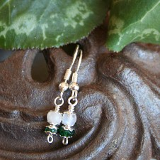Dainty Fertility Earrings Moonstone and Aventurine