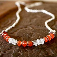 Fertility Necklace in Carnelian and Quartz