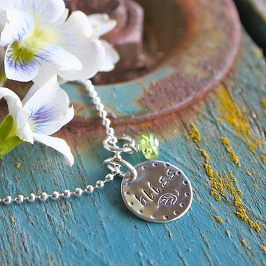 Hand Stamped Silver Disc Necklace