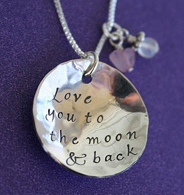 Love you to the moon and back hammered pendant