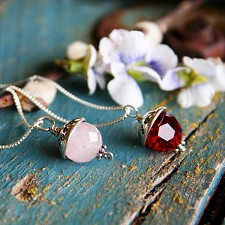 Personalised Acorn Necklace - Rose Quartz, Ruby Birthstone