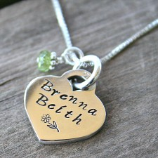 Personalised Sterling Hand Stamped Heart Necklace