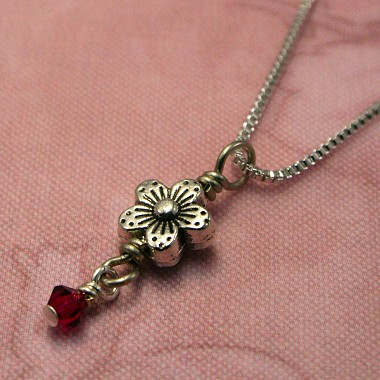 Pewter Forget Me Not Necklace
