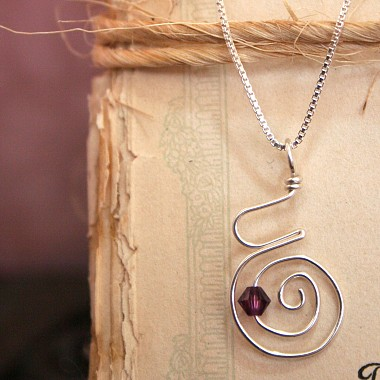 Pregnancy Spiral Necklace with Birthstone
