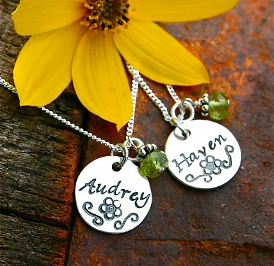 Round Sterling Silver Hand Stamped Pendant
