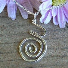 Small Hammered Pregnancy Necklace - Sterling Box Chain