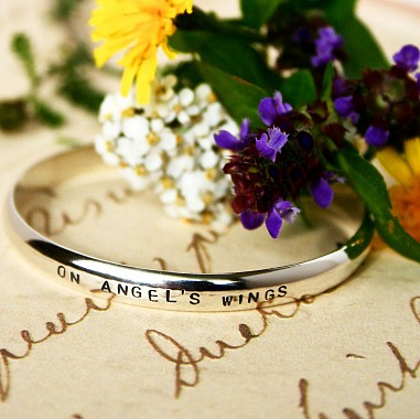 Sterling Cuff Miscarriage Bracelet - Block Font
