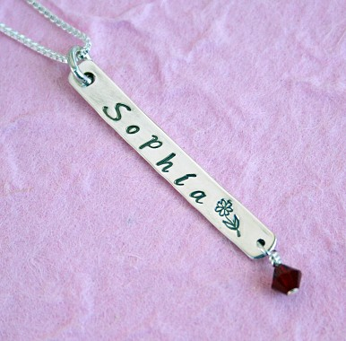 Sterling Silver Handstamped Name Tab Necklace