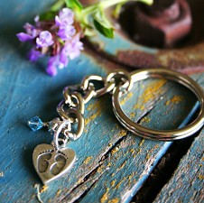Tiny Footprints on Your Heart - Miscarriage Keychain