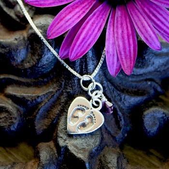 Tiny Footprints on a Mothers Heart Poem & Necklace
