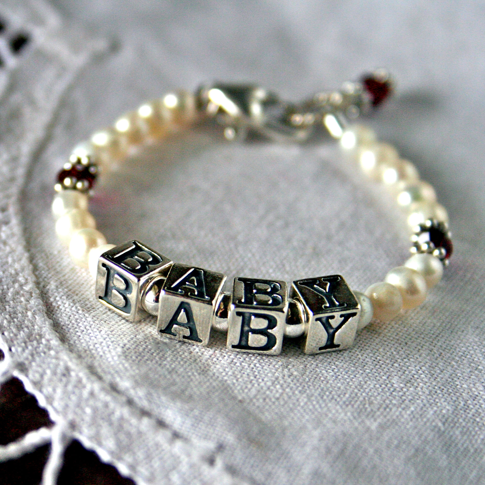 Birthstone And Freshwater Pearl Baby Name Bracelet
