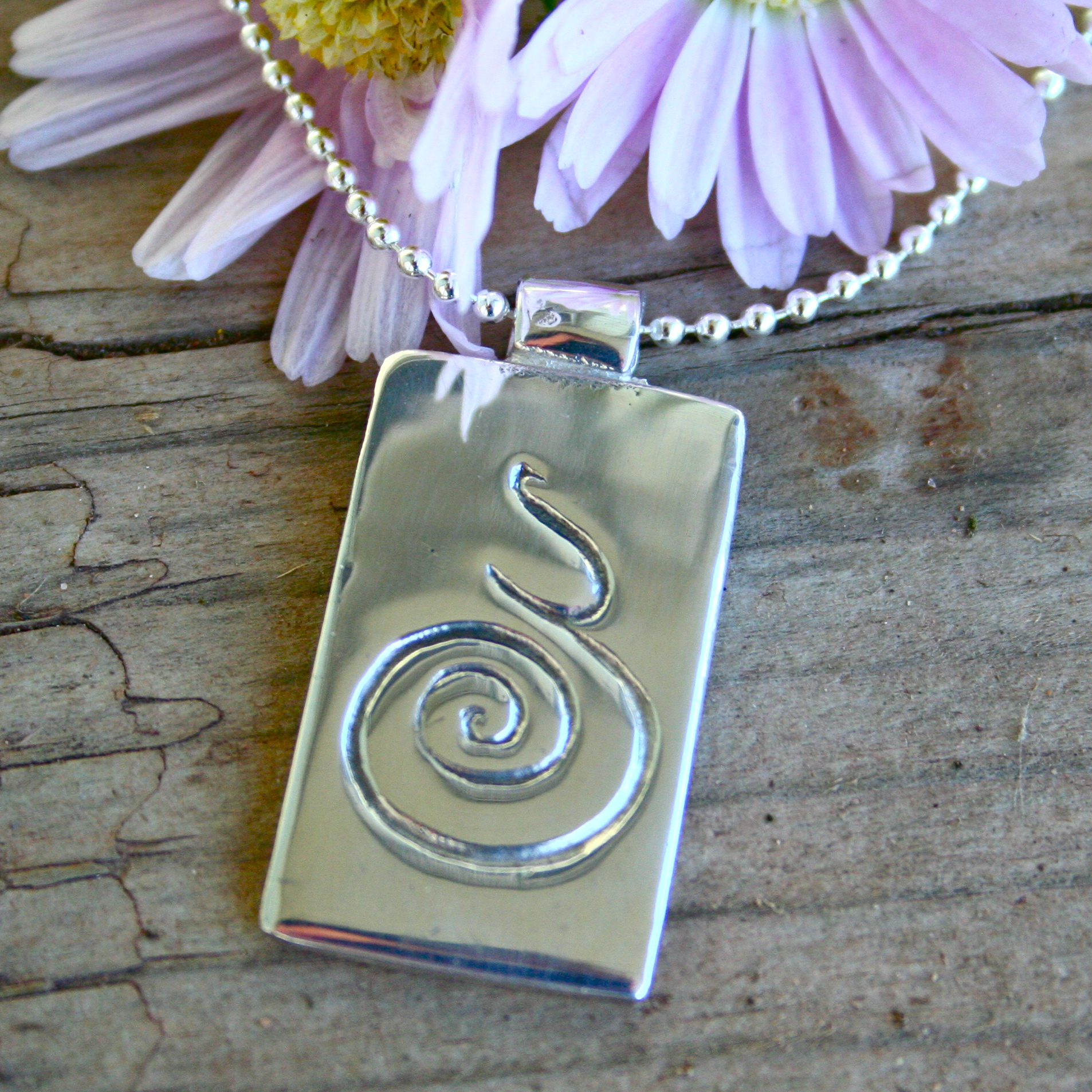 Pregnancy Spiral Tag Pendant Necklace Customised With
